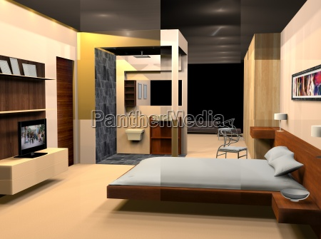 bedroom with double bed and bedside