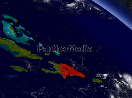 dominican republic from space highlighted in