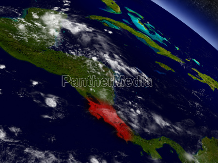 costa rica from space highlighted in