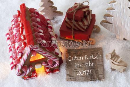 gingerbread house sled snow guten rutsch