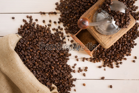 bag of coffee and coffee grinder