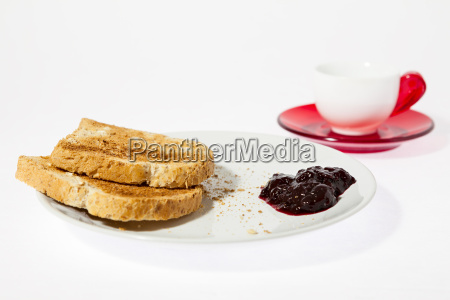 coffee with jam and bread