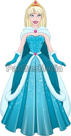 snow princess in blue dress and