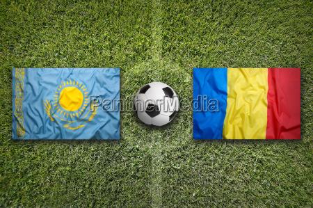 kazakhstan vs romania flags on soccer