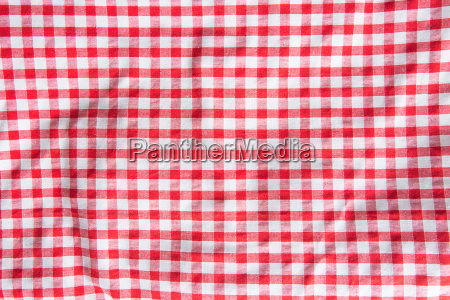 crumpled checkered tablecloth