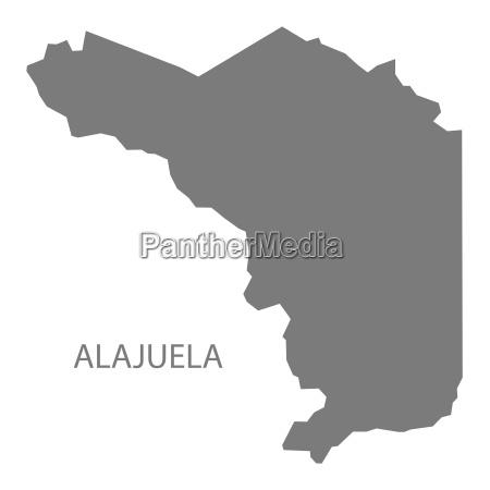 alajuela costa rica map grey