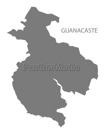 guanacaste costa rica map grey