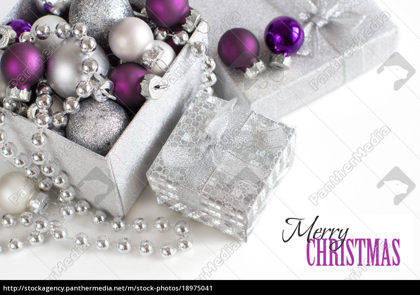 Stock Photo 18975041 Silver And Purple Christmas Ornaments Border