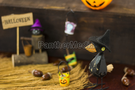 halloween image with crow and jack
