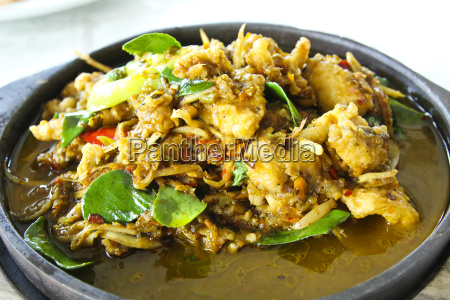 stir fried giant catfish on hot