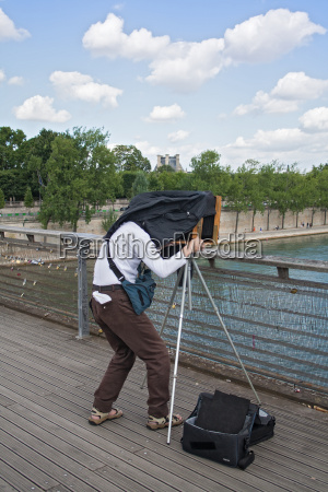 photographer with old plate camera on