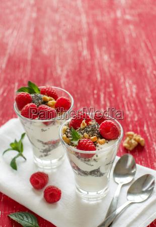 yogurt with chia seeds walnuts and