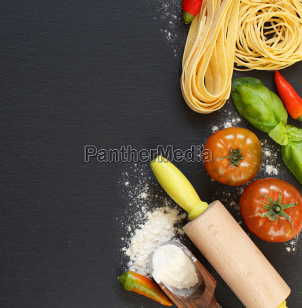 fresh pasta and ingredients on a