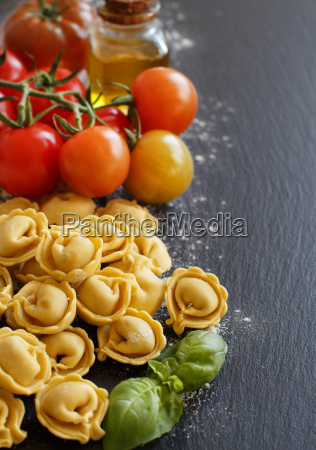 fresh tortellini and ingredients