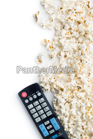 tasty popcorn and tv remote control