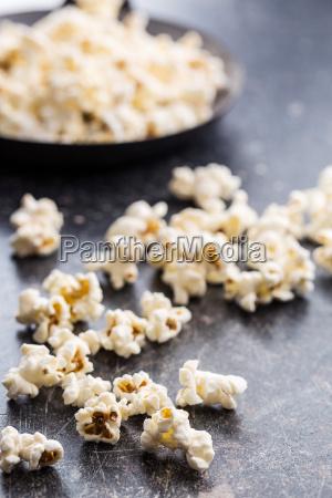 popcorn on black table