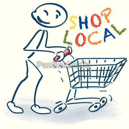 stick figure with shopping cart and