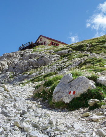 rocky path and refuge on the