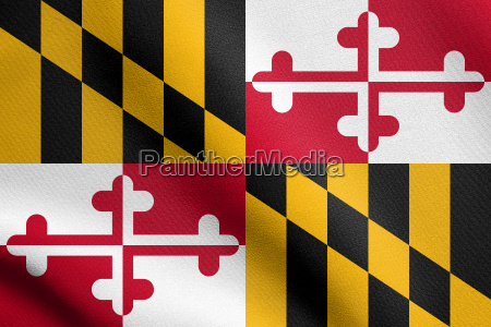 flag of maryland waving with fabric
