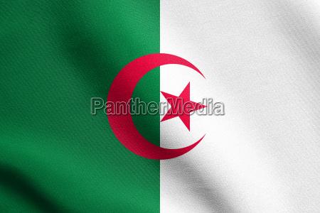 flag of algeria waving with fabric