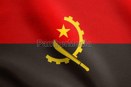 flag of angola waving with fabric