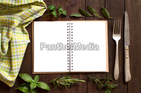blank cooking recipe book on a