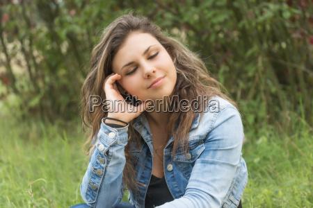 portrait of dreaming teenage girl