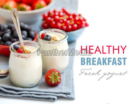 healthy breakfast with fresh yogurt muesli