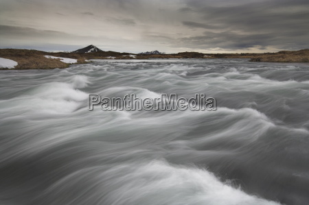 laxa river flowing from lake myvatn