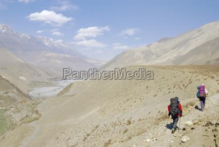 two people trekking near kagbeni southern