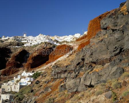 volcanic rocks and oia village oia