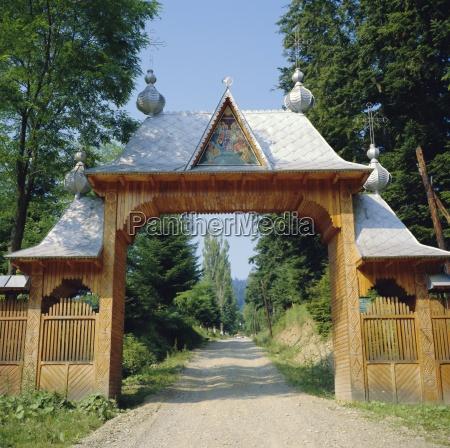 typical moldavian gateway horaita monastery moldavia