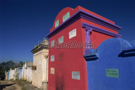 brightly painted tombs in the technicolor