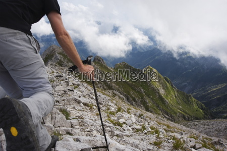 hiker in the apuan alps tuscany