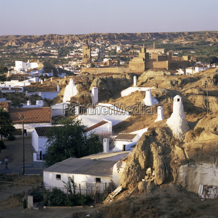 cave dwellings and town from the