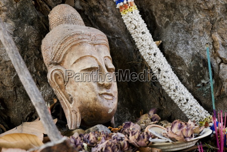 buddhist head placed at tree base