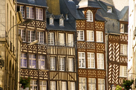 typical half timbered houses old town