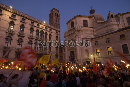 torchlight procession during school protest in