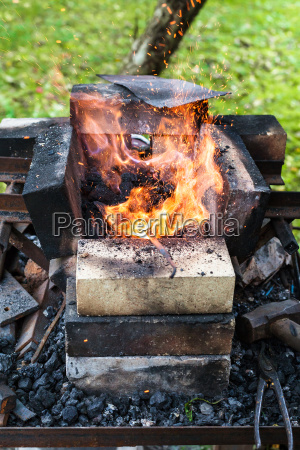 iron rod is heated in brick