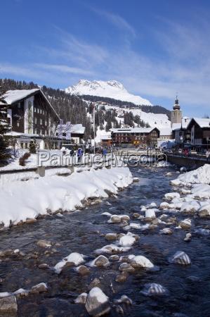 river and village church lech near