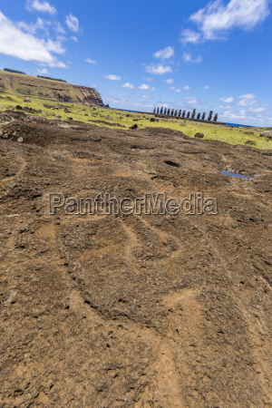 petroglyphs carved in the lava at