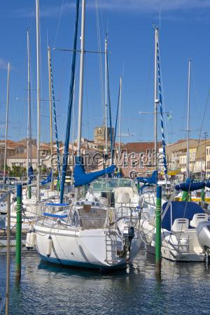 boats in marina meze herault languedoc