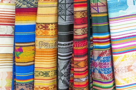 otavalo market traditional colourful textiles imbabura
