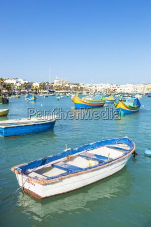 marsaxlokk harbour and traditional fishing boats