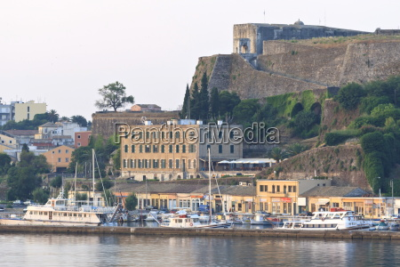 summer dawn corfu town fortifications and