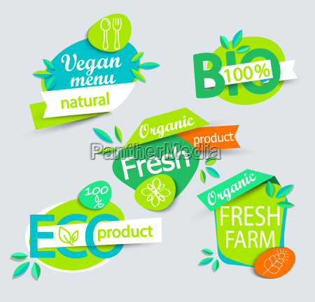 set of healthy organic food labels