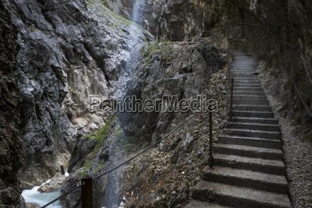 stairs in the hoellentalklamm at garmisch