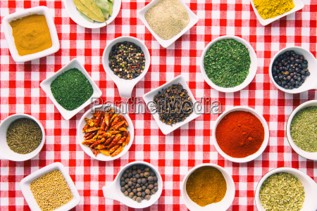 various dried herbs and spices in