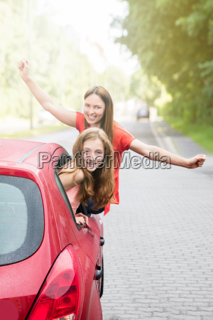 mother with her daughter going for