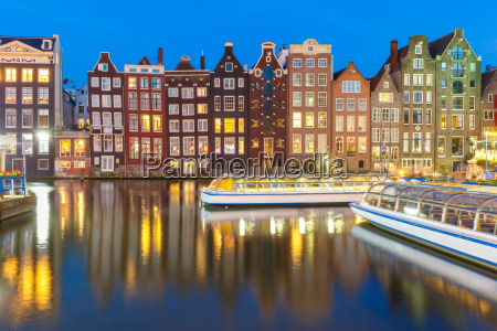 night dancing houses at amsterdam netherlands